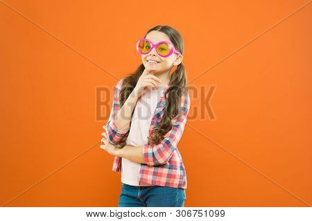 Perfect Pair For Perfect Party. Cute Small Child Looking Through Party Goggles With Color Filter. Ad