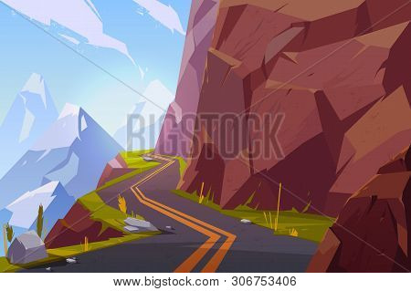Mountain Asphalt Road, Curly Winding Empty Highway In Rocky Summer Time Countryside Landscape. Speed