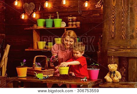 Mother Concept. Mother And Little Child Potting Flower. Mother And Son Replant Flower In New Pot In