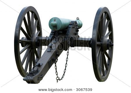 Isolated civil war canon with tarnished bronze barrel poster