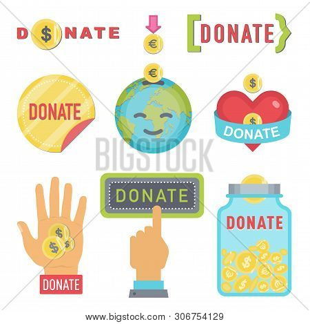 Donate Buttons Set. Help Icon Donation Blood. Gift Charity. Isolated Support Design Sign. Human Hand