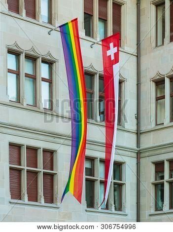 Zurich, Switzerland - June 16, 2019: Facade Of The Zurich City Hall Building Decorated With A Rainbo