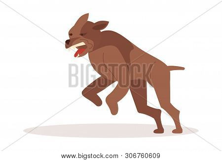 poster of Aggressive dangerous dog attack. Big pooch infected by rabies isolated on white background. Flat Art Vector illustration