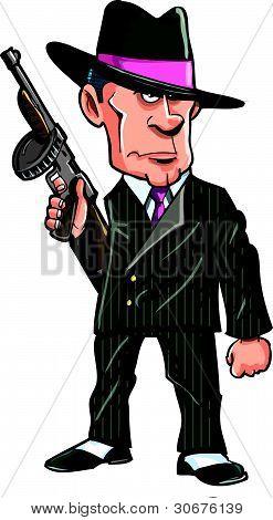Cartoon 1920 gangster with a machine gun.