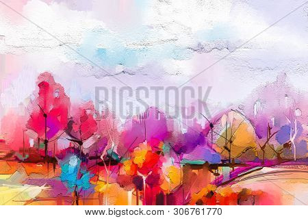 Abstract Oil Painting Landscape. Colorful Blue Purple Sky. Oil Painting Outdoor On Canvas. Semi Abst