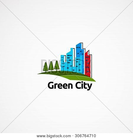 Green Skyline Logo Designs Concept, Icon, Element, And Template For Company