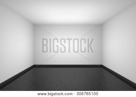 Empty Room With White Ceiling And Walls, Black Hardwood Parquet Floor And Soft Light, Simple Minimal