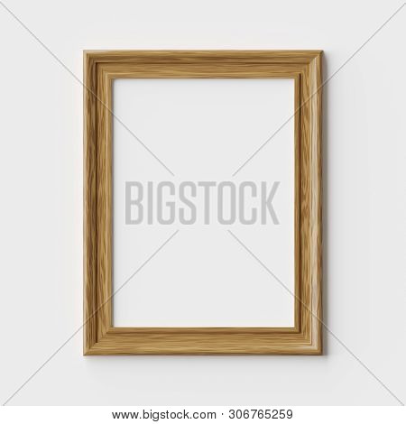 Wood Blank Picture Or Photo Frame On White Wall With Shadows, Decorative Wooden Picture Frame Templa