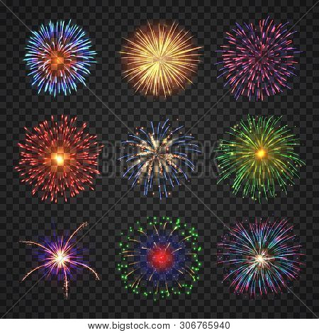 Big Set Of Different Fireworks With Shining Sparks. Colorful Pyrotechnics Show Elements. Realistic F
