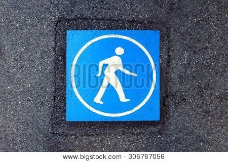 Pedestrian Blue Warning Sign On The Road Surface, Walk Sign Blue Color On Footpath, Symbol Pedestria