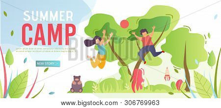 Banner Template Advertising Summer Camp For Kids. Webpage Giving Information About Outdoor Activitie
