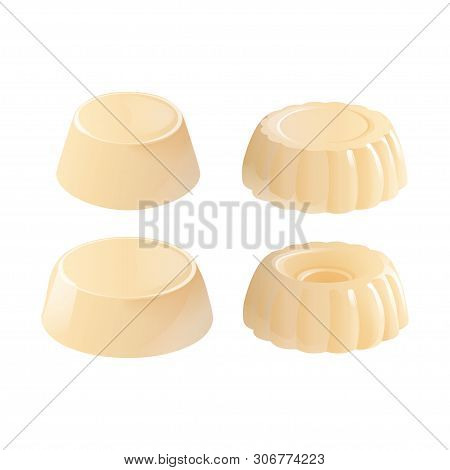 Homemade Vanilla Pudding. Set Of Sweet Custard Jelly Desserts. Vector Illustration Isolated On White