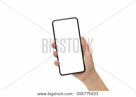 Hand Holding Black Mobile Phone With Blank Screen Isolated On White Background.