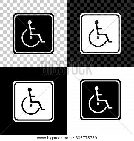 Disabled Handicap Icon Isolated On Black, White And Transparent Background. Wheelchair Handicap Sign