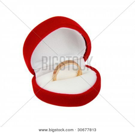 One gold ring in red box, isolated on white background