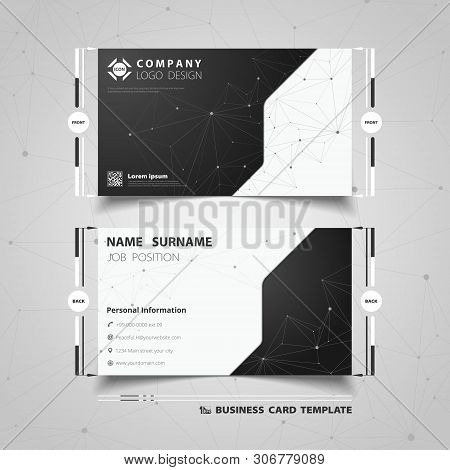 Abstract Black And White Technology Name Card Template Design. Illustration Vector Eps10