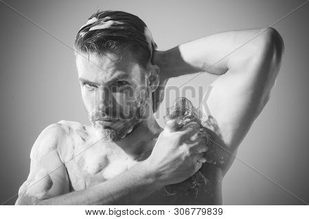Cosmetic For Men. Men's Cosmetics For Body Care. Daily Routine In Shower. Handsome Muscular Man At S