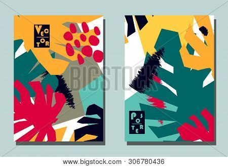 Cover with graphic elements - abstract shapes and monstera leaves. Two modern vector flyers in avant-garde collage style. Geometric wallpaper for business brochure, cover design. poster