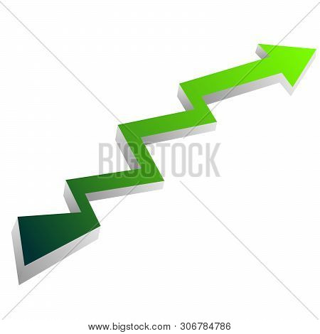Green Arrow With Shadow. Icon Of Growth Up Statistics. Vector Graphic Illustration Of 3d Design.