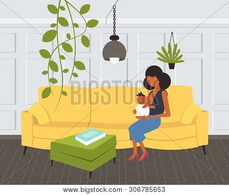 Mother Breastfeeding Her Newborn Baby African American Woman Sitting On Couch With Little Child Moth
