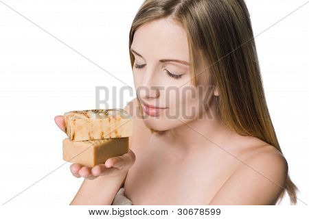 Blond Wellness Beauty With Organic Soaps.