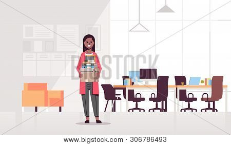African American Businesswoman Holding Box With Stuff Things New Job Business Concept Creative Co-wo