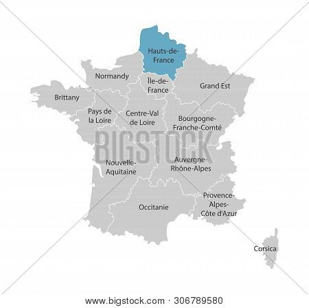 Vector Isolated Illustration Of Simplified Administrative Map Of France. Blue Shape Of Hauts-de-fran