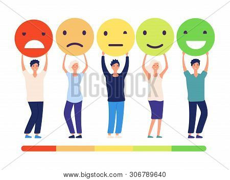 Customers Feedback Concept. People And Measuring Review Opinions Approval Recommendation Status. Emo
