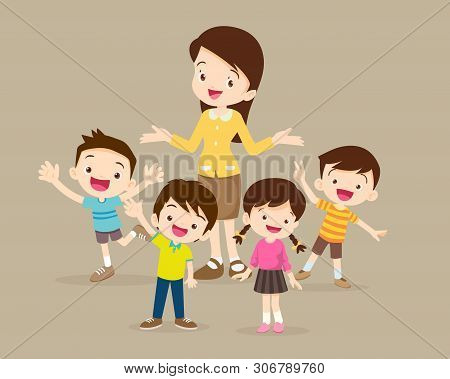 Teacher And Kids.childrens Stand Around Teacher.boy And Girl Happy With Teacher.