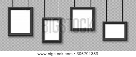 Blank Hanging Frames. Pictures, Photo Frames Mockup Vector Isolated On Transparent Background. Illus