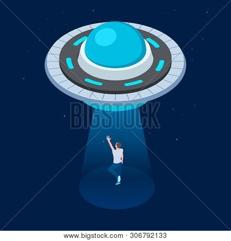 Vector Aliens Abduct Man. Ufo Flying Spaceship Isometric Design. Ufo Kidnaps Man Vector Illustration
