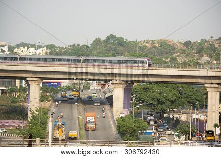 Bangalore India June 1, 2019 :bengaluru Metro Train Moving On The Bridge New Mysore Road Bengaluru,