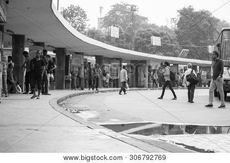 Bangalore India June 3, 2019 : Monochrome Image Of Busy People Waiting For Bus At Majestic Bus Stati