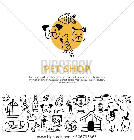 Cute Pets And Different Care Elements In Doodle Style. Vet Symbol Collection Like Kennel, Leash, Foo