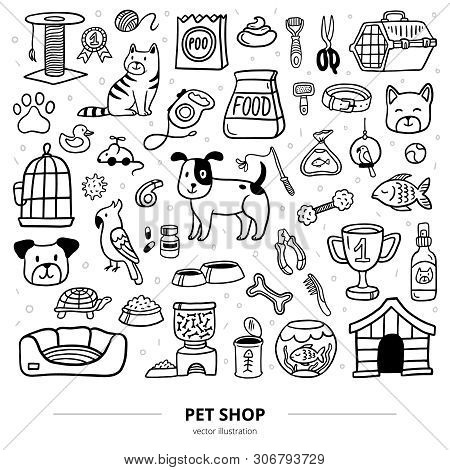 Funny Pets Stuff And Supply Icons With Text. Doodle Vector Illustration. Cartoon Dog, Cat, Parrot, T