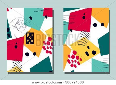 Cover with graphic elements - abstract shapes. Two modern vector flyers in avant-garde collage style. Geometric wallpaper for business brochure, cover design. poster