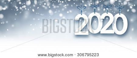 Abstract Silver 2020 New Year Banner With Snow.