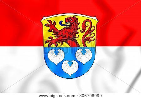 3d Flag Of Zwingenberg (hessen), Germany. 3d Illustration.