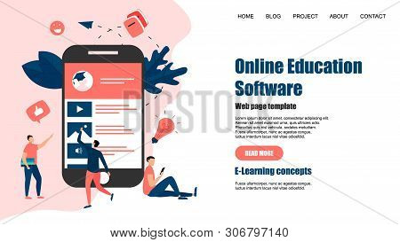 Webpage Template. Online Education App. E-learning Concept.
