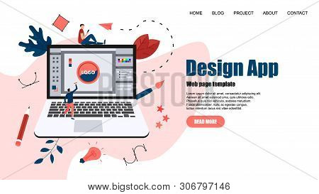 Webpage Template. Flat Vector Graphic Design Concept With An Open Design Application With A Creative