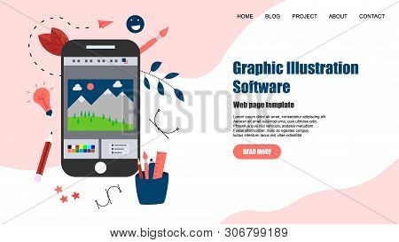 Webpage Template. Flat Vector Graphic Drawing Concept With Open Illustration Application With A Crea