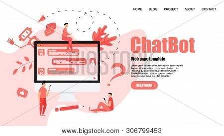 Webpage Template. Chatbot Business Concept. Communication With Chatbot. Artificial Intelligence In C