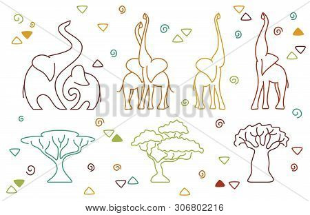African Vector Elephant And Tree Set In Linear Style. Collection Colored Elephants And African Trees
