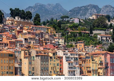 Menton, France - June 05, 2019: Colorful Houses In Old Town Architecture Of Menton On French Riviera