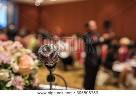 Microphones For Speech Or Speaking In Seminar Conference Room, Talking For Lecture To Audience Unive