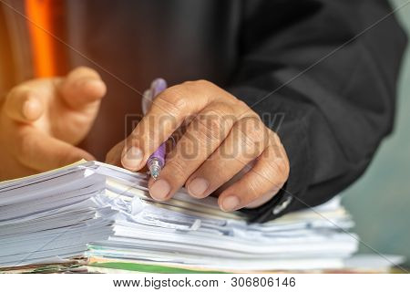 Businessman Hands Checking Documents File Paperwork Financial Market, Searching Information On Work