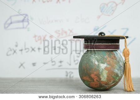 Study Abroad Education Ideas, Graduated Cap On Top Global World In Formula Arithmetic Equation Backg