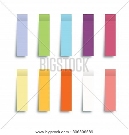 Collection Post Note Stickers With Sticky Notes Isolated On White Background. Color Post Note Sticke