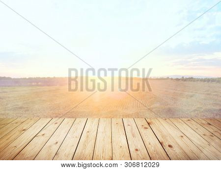 Table Top With Sky And Cloud In Sunny Day For Product Display Job Showing. Wooden Table On Blurred A