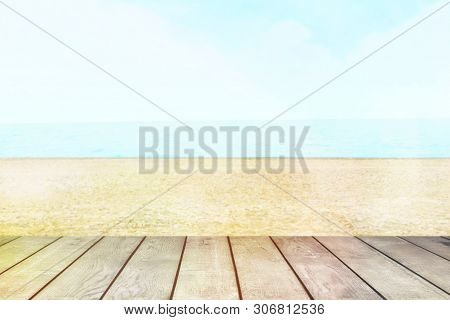 Table Top With Beach Background, Sky And Cloud In Sunny Day For Product Display Job Showing. White W